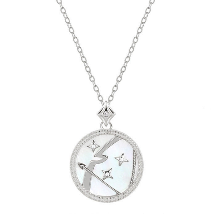 Mother of Pearl Star Sign Horoscope Zodiac Necklace in Silver