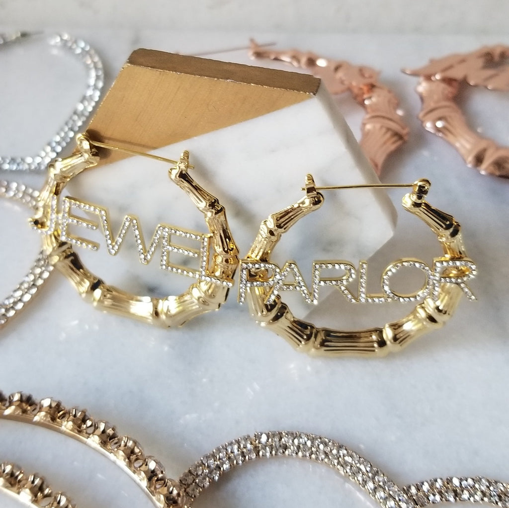 Shanté Custom Bamboo + Crystal Name Earrings