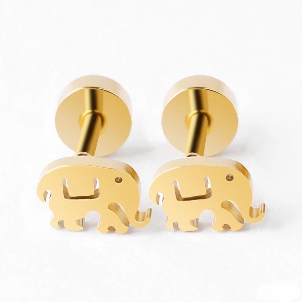 Minimalist Baby Elephant Earrings + Screw Back Post