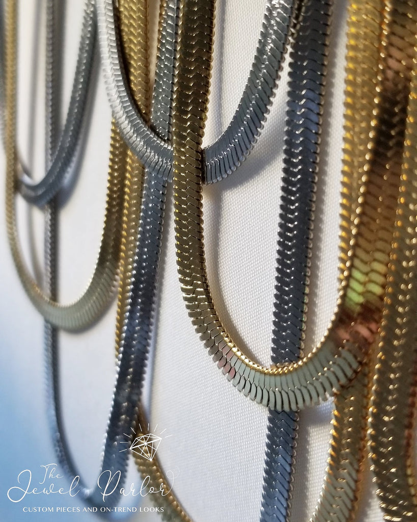 5mm Herringbone Snake Chain • Gold or Silver