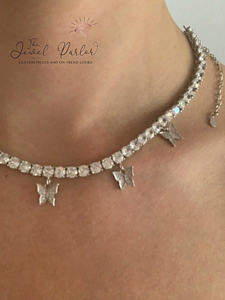 Laila Floating Butterfly Tennis Chain Necklace