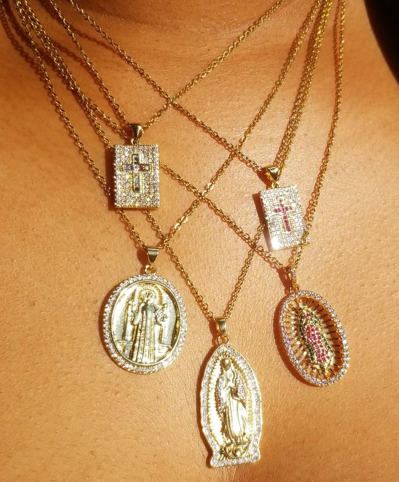 Pavé Crosses • Virgin Mary of Guadalupe • St. Benedict