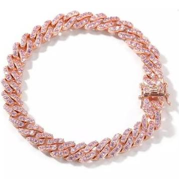 Celia Pink Ice + Rose Gold Cuban Link Curb Bracelet