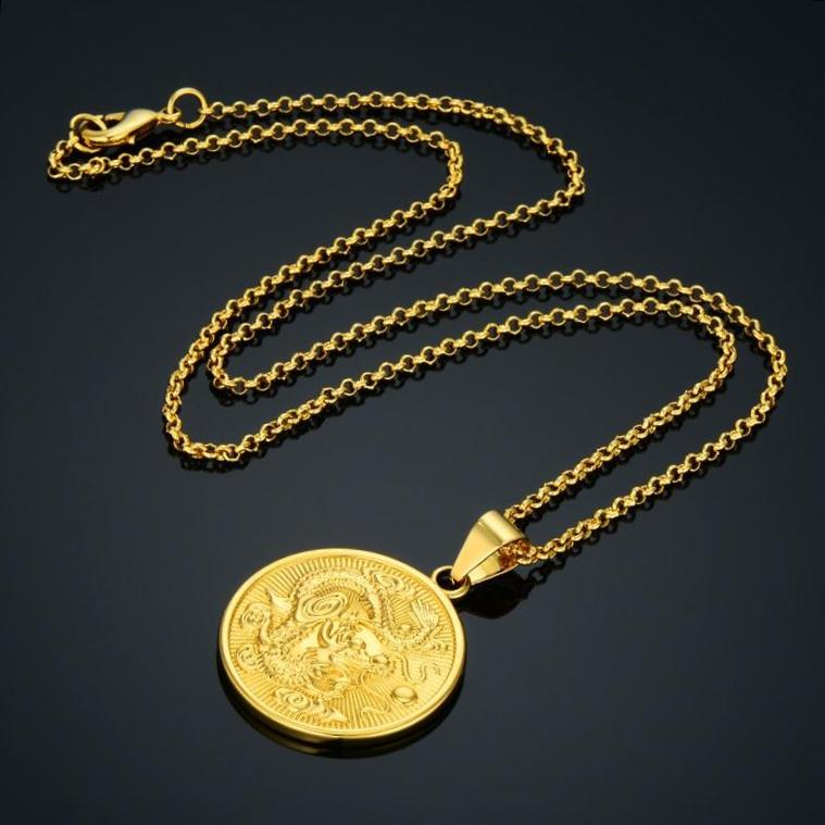 Gold-filled Enter the Dragon Medallion Necklace