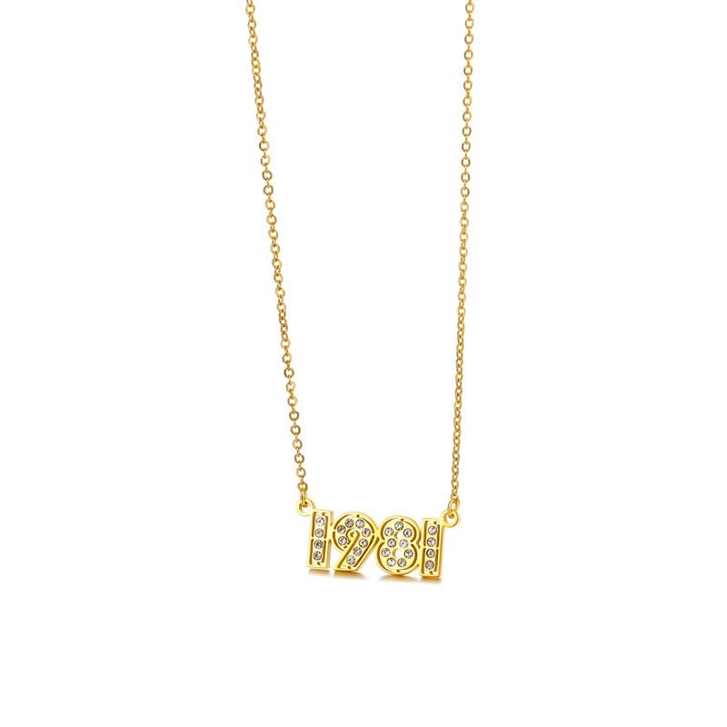 Retro Crystal Birth Year Necklace 1970 to 2000