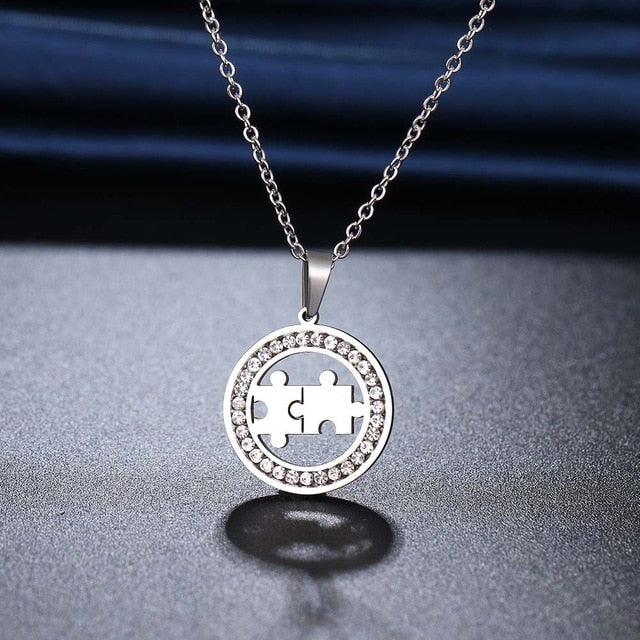 Crystal Puzzle Piece Necklace for Autism Awareness