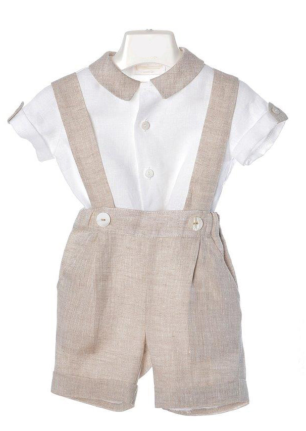 Bimbalo - Boys Linen Shirt & Dungaree Set