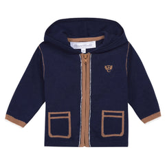 Tartine Et Chocolat - Navy Blue Hooded Cashmere Blend Cardigan
