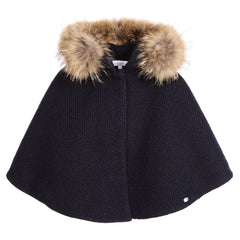 Tartine Et Chocolat - Woolen Cape With Fur