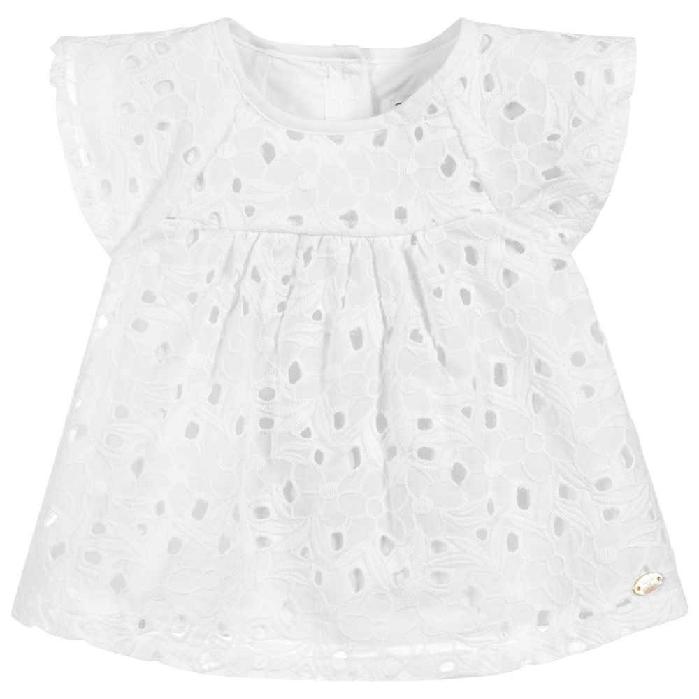 Tartine et Chocolat - White Broderie Anglaise Tunic Top