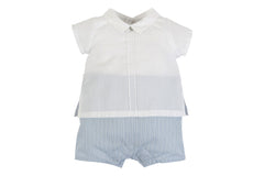 Laranjinha - White & Light Blue Romper Suit