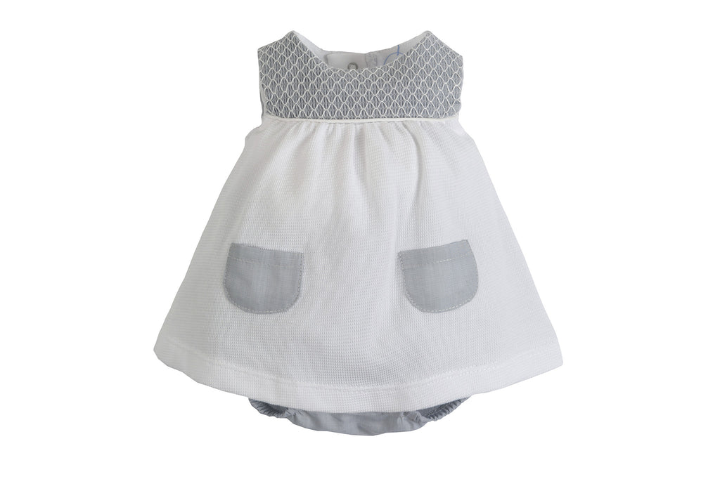 Laranjinha - White & Silver Grey Baby Dress
