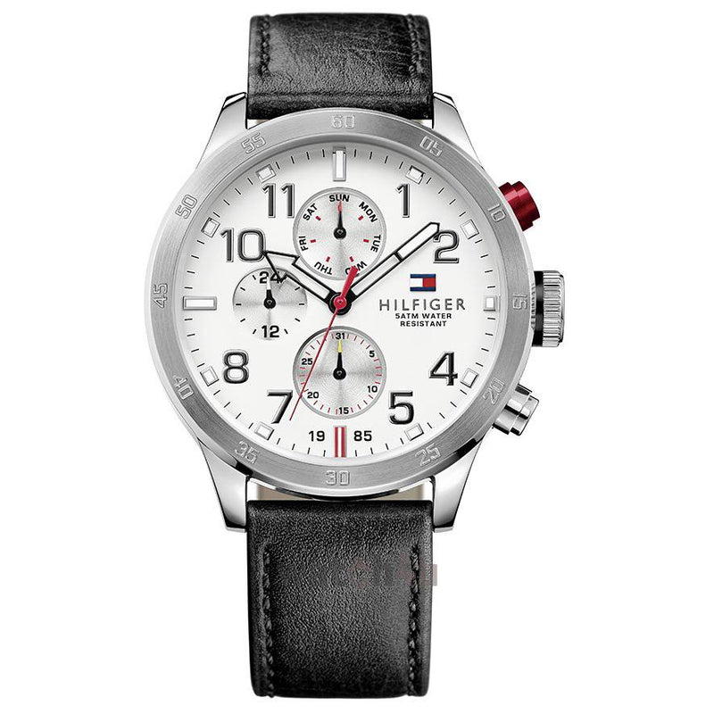 Mens / Gents Cool Sport White Dial Black Leather Tommy Hilfiger Designer Watch 1791138