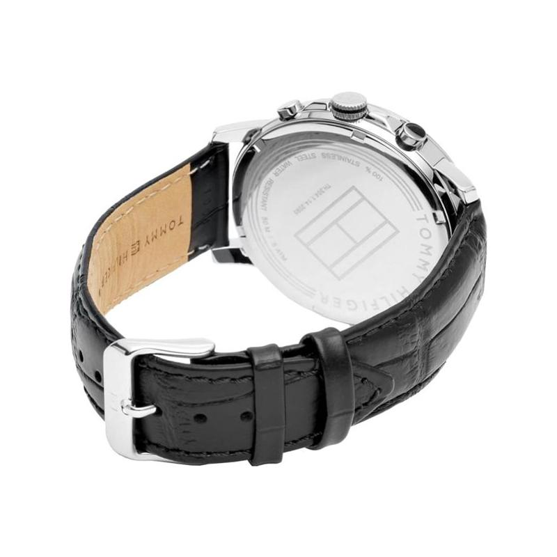 Mens / Gents Keagan Black Leather Strap Tommy Hilfiger Designer Watch 1791289
