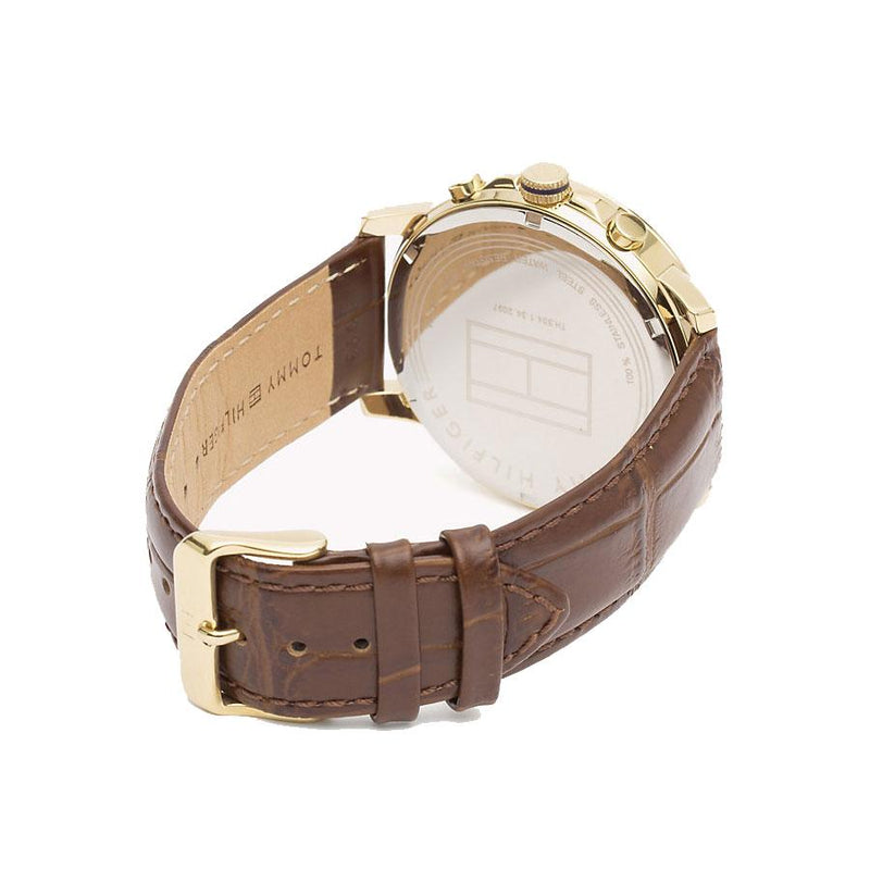 Mens / Gents Keagan White Dial Brown Leather Strap Tommy Hilfiger Designer Watch 1791291