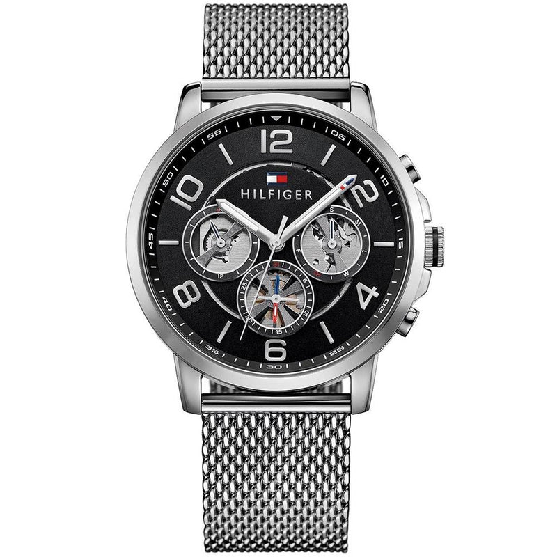 Mens / Gents Keagan Silver Stainless Mesh Chronograph Tommy Hilfiger Designer Watch 1791292