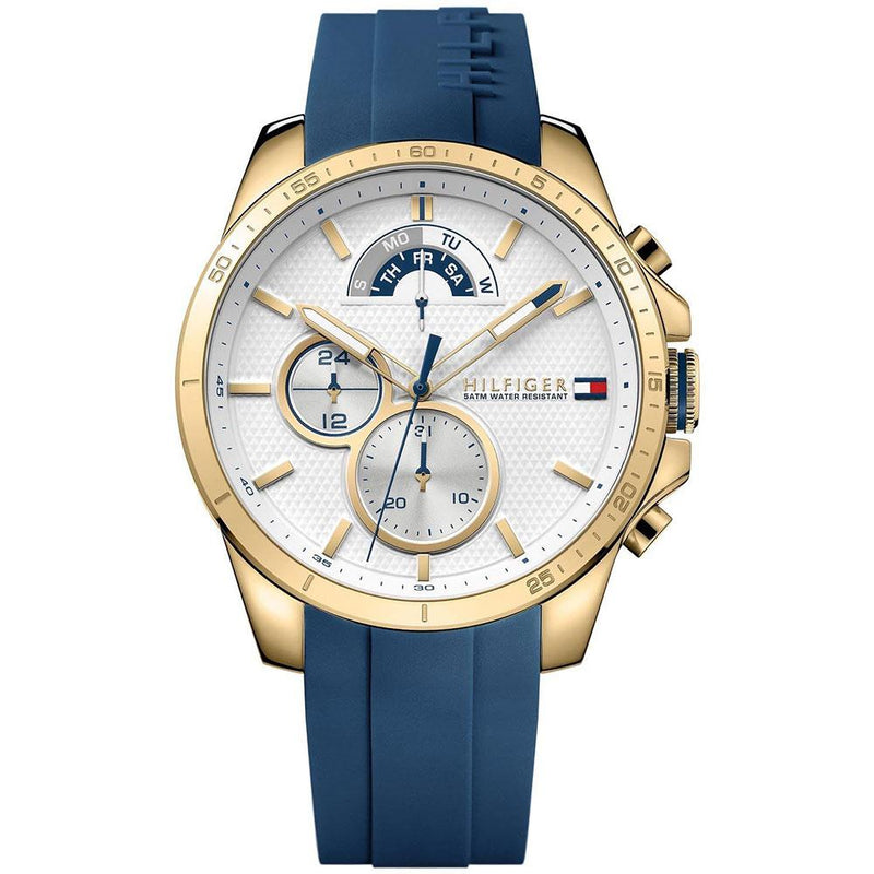 Mens / Gents Decker Blue Rubber Strap Chronograph Tommy Hilfiger Designer Watch 1791353