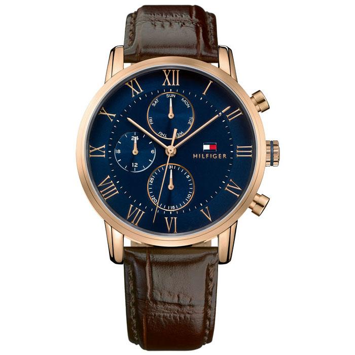 Mens / Gents Kane Blue & Brown Leather Strap Tommy Hilfiger Designer Watch 1791399