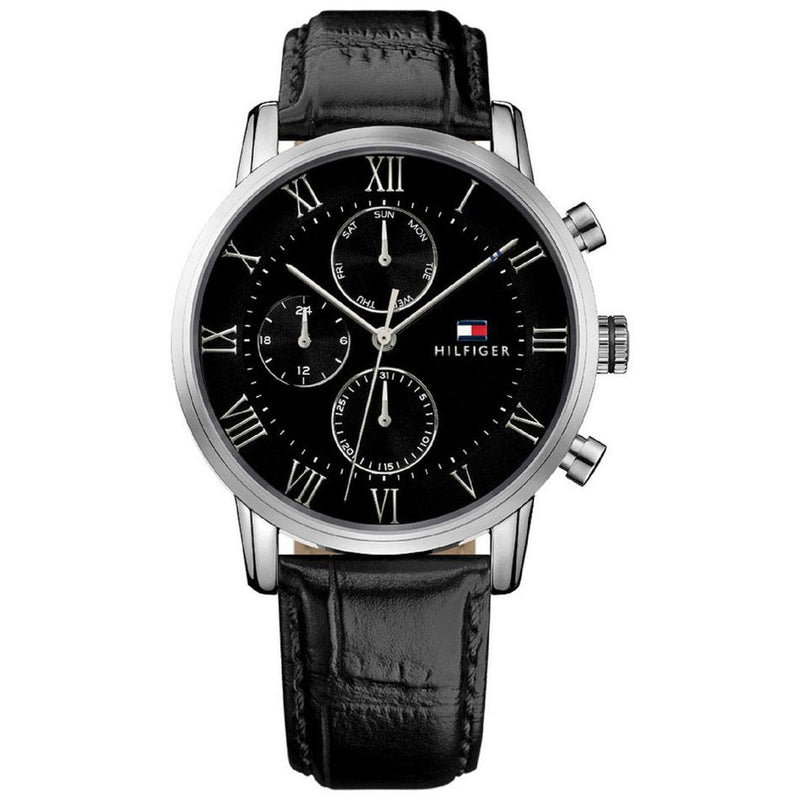 Mens / Gents Kane Black Leather Strap Tommy Hilfiger Designer Watch 1791401