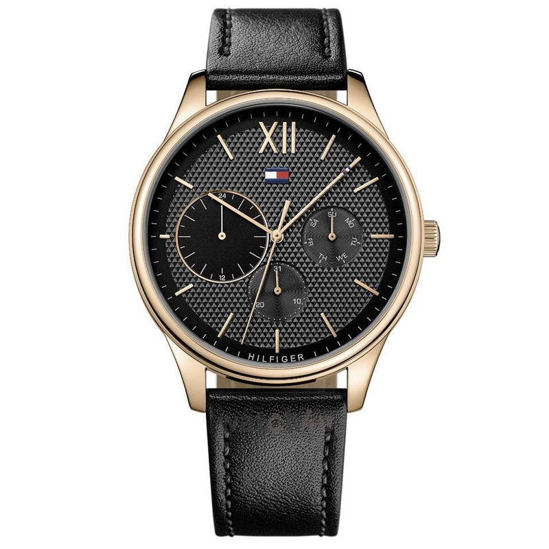 Mens / Gents Damon Black Leather Strap Tommy Hilfiger Designer Watch 1791419