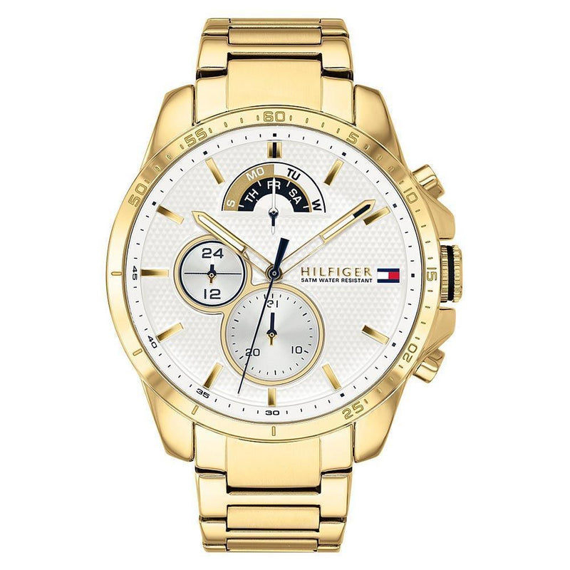 Mens / Gents White & Gold Chronograph Tommy Hilfiger Designer Watch 1791538