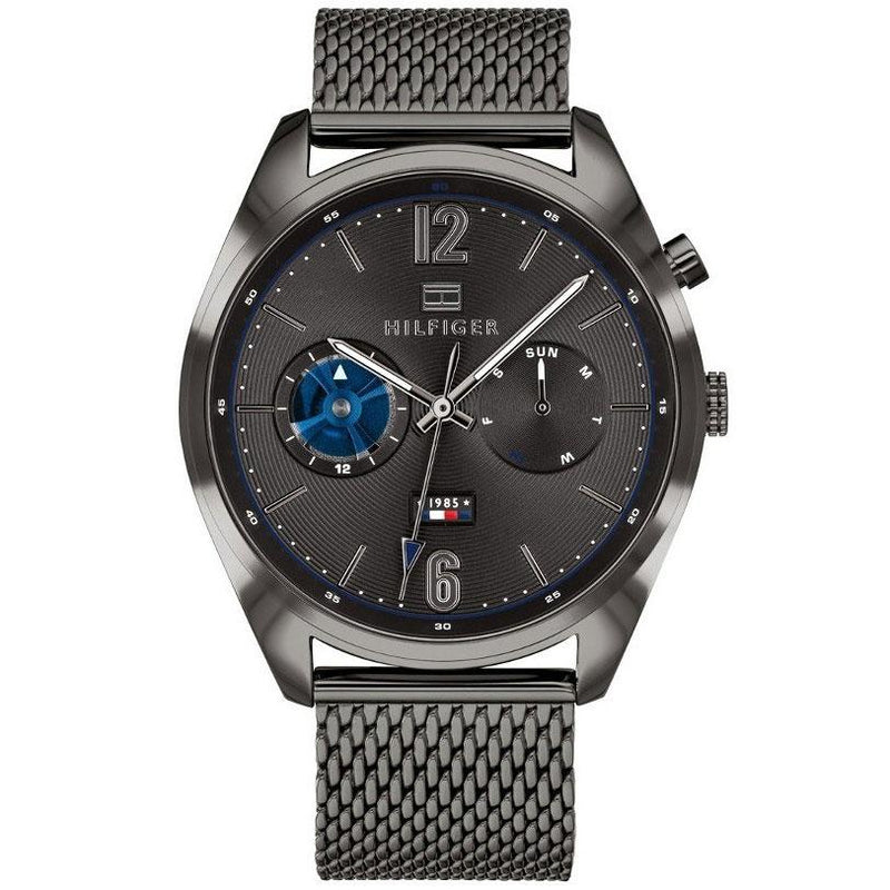 Mens / Gents Deacan Gunmetal Grey Mesh Strap Chronograph Tommy Hilfiger Designer Watch 1791546