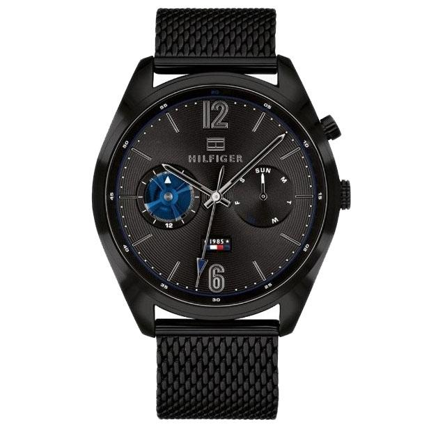 Mens / Gents Deacan Black Stainless Steel Mesh Tommy Hilfiger Designer Watch 1791547