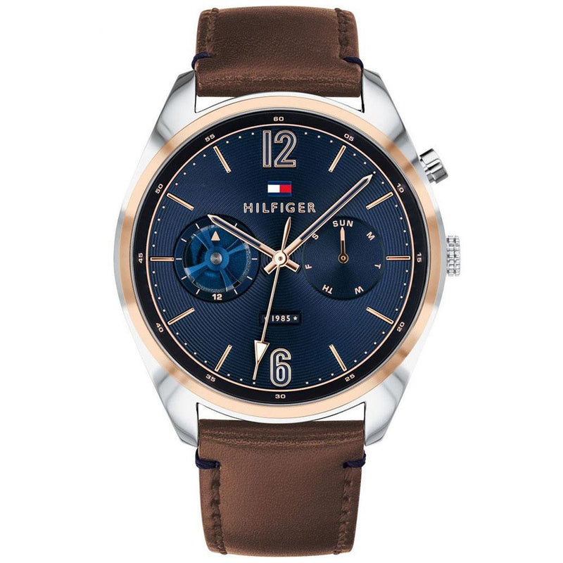 Mens / Gents Deacan Brown Leather Strap Tommy Hilfiger Designer Watch 1791549
