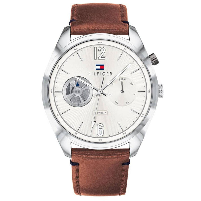 Mens / Gents Deacan White Dial Brown Leather Strap Tommy Hilfiger Designer Watch 1791550