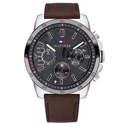 Mens / Gents Brown Leather Chronograph Tommy Hilfiger Designer Watch 1791562