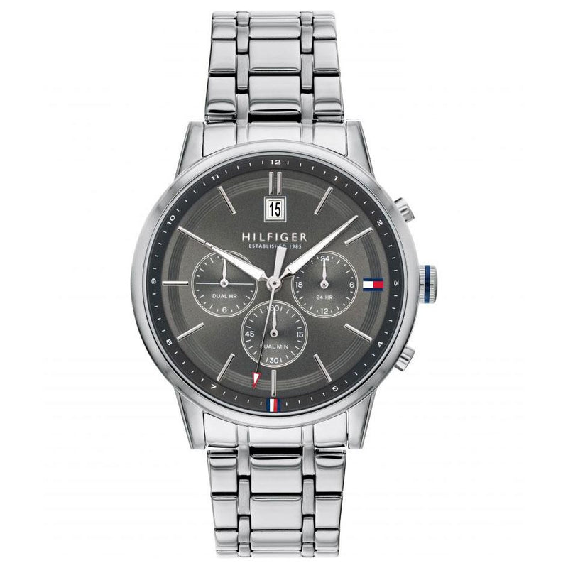 Mens / Gents Kyle Silver Stainless Steel Chronograph Tommy Hilfiger Designer Watch 1791632
