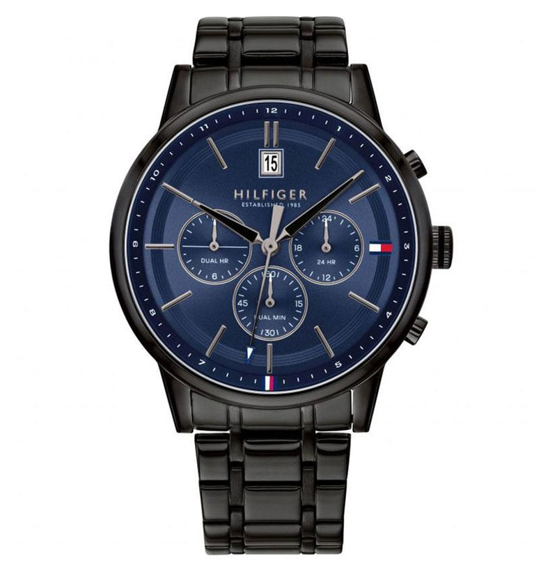 Mens / Gents Kyle Black Stainless Steel Chronograph Tommy Hilfiger Designer Watch 1791633