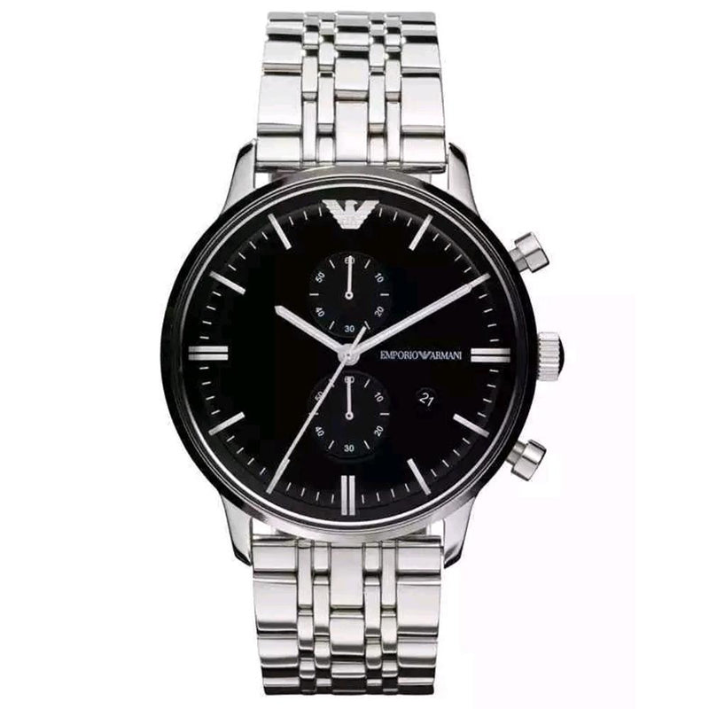 Mens / Gents Silver Black Dial Chronograph Emporio Armani Designer Watch AR0389