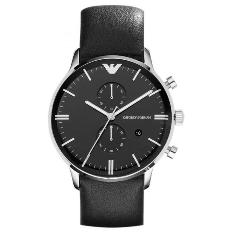 Mens / Gents Gianni Black Leather Strap Emporio Armani Designer Watch AR0397