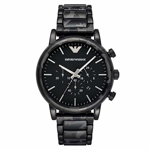 Mens / Gents Luigi Black Stainless Steel Chronograph Emporio Armani Designer Watch AR11045