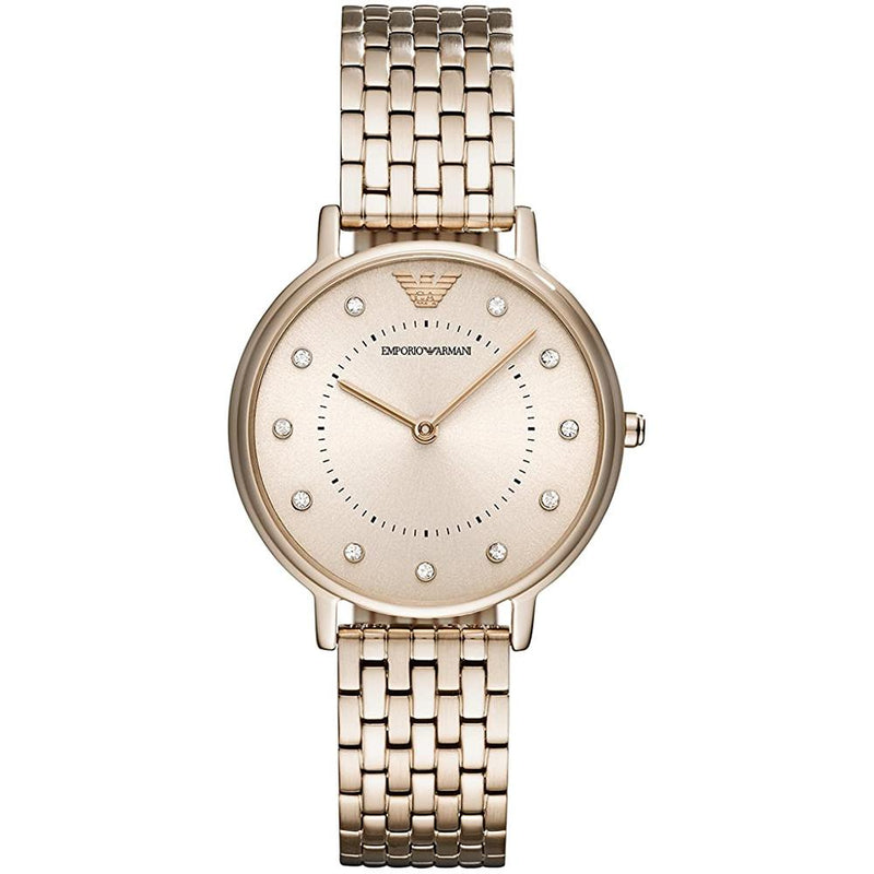 Ladies / Womens Rose Gold Stainless Steel Emporio Armani Designer Watch AR11062