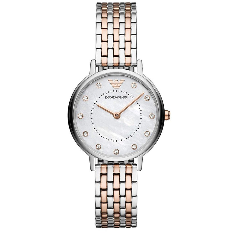 Ladies / Womens Rose Gold & Silver Stainless Steel Emporio Armani Designer Watch AR11094