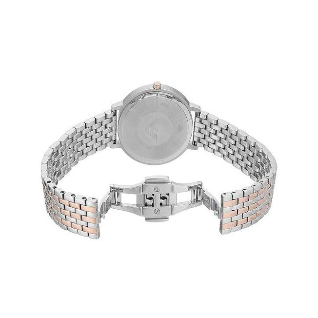 Ladies / Womens Silver Rose Gold Stainless Steel Bracelet Emporio Armani Designer Watch AR11113