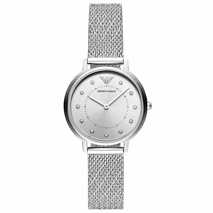 Ladies / Womens Silver Stainless Steel Mesh Strap Emporio Armani Designer Watch AR11128