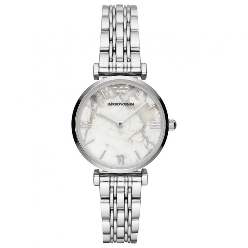 Ladies / Womens Silver White Marble Stainless Steel Emporio Armani Designer Watch AR11170