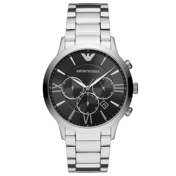 Mens / Gents Silver & Black Chronograph Stainless Steel Emporio Armani Designer Watch AR11208