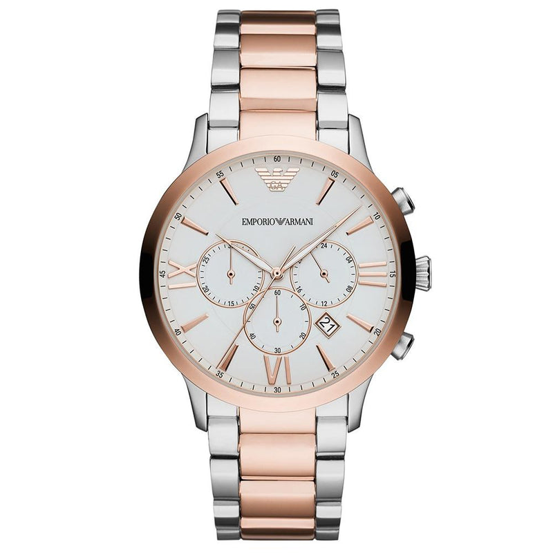 Mens / Gents Silver & Rose Gold Stainless Steel Emporio Armani Designer Watch AR11209