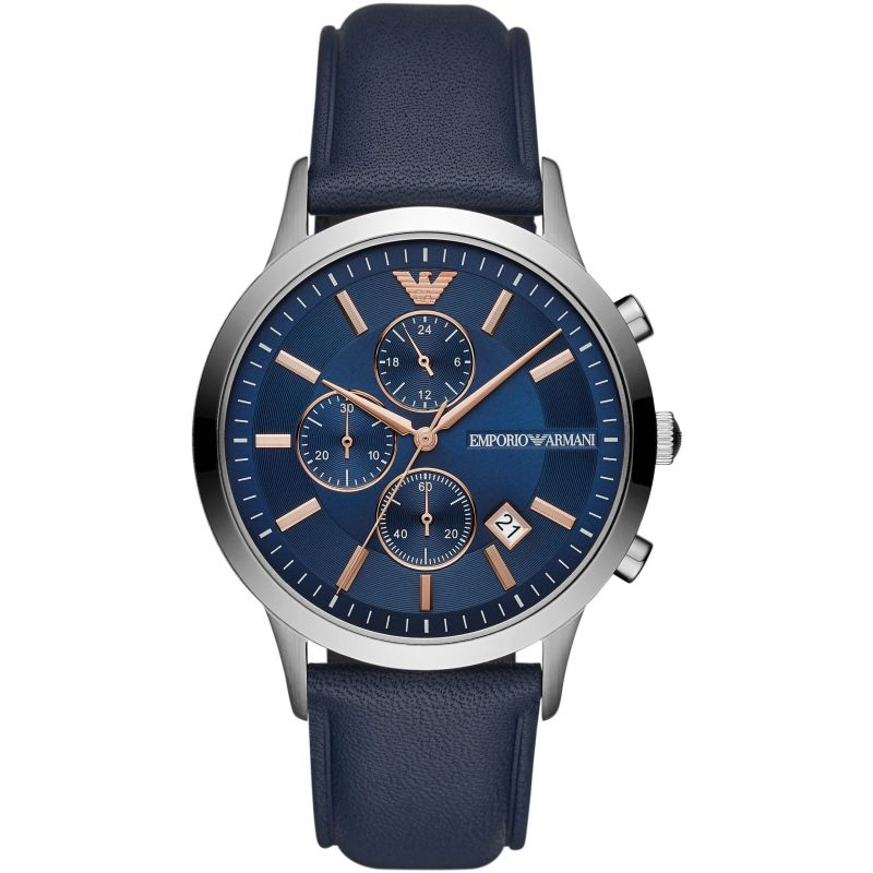 Mens / Gents  Renato Blue Leather Chronograph Emporio Armani Designer Watch AR11216