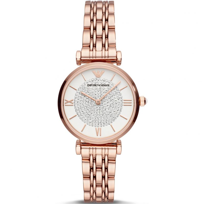 Ladies / Womens Rose Gold Glitz Stainless Steel Emporio Armani Designer Watch AR11244