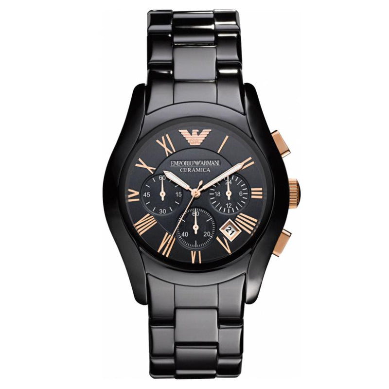 Mens Black Rose Gold Ceramic Chronograph Emporio Armani Watch AR1410