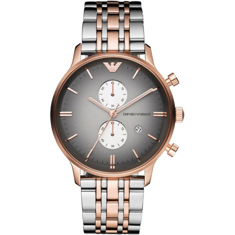 Mens Rose Gold Stainless Steel Multifunction Emporio Armani Watch AR1721