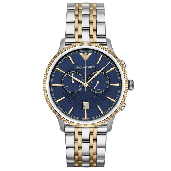 Mens / Gents Blue & Two Tone Stainless Steel Chronograph Emporio Armani Designer Watch AR1847