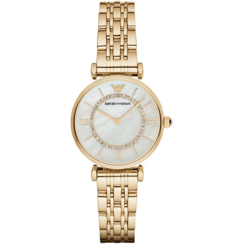 Ladies Mother of Pearl Gold Tone Stainless Steel Emporio Armani Watch AR1907