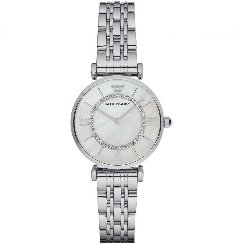 Ladies Silver Stainless Steel Crystal Emporio Armani Watch AR1908