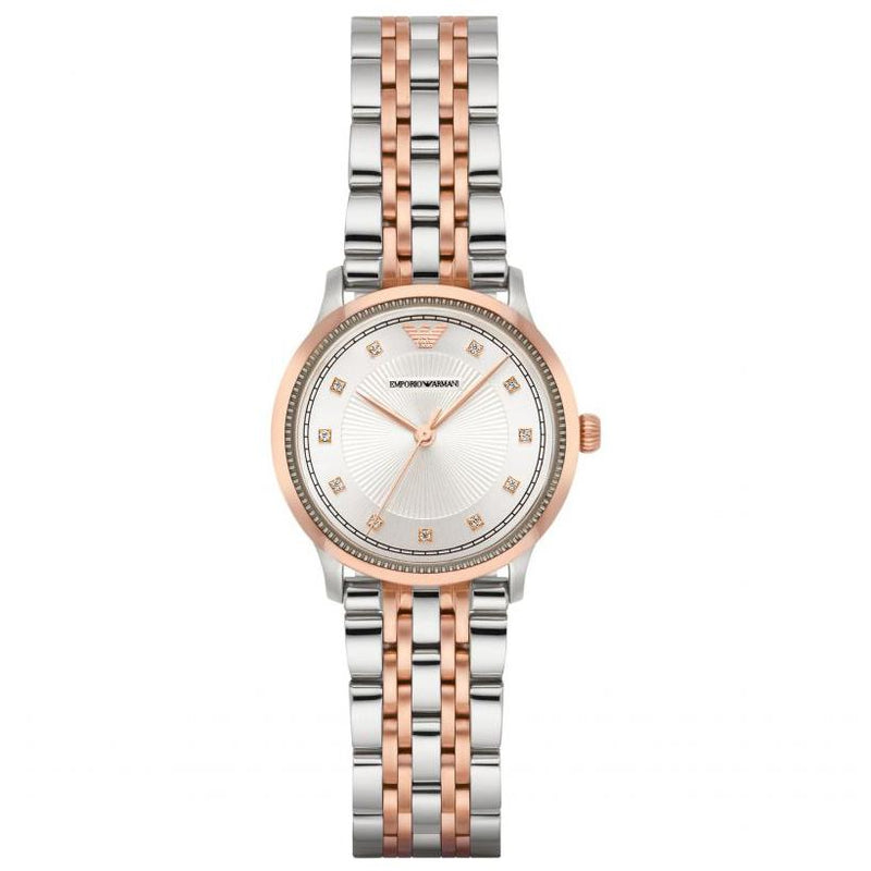 Ladies / Womens Rose Gold & Silver Stainless Steel Emporio Armani Designer Watch AR1962